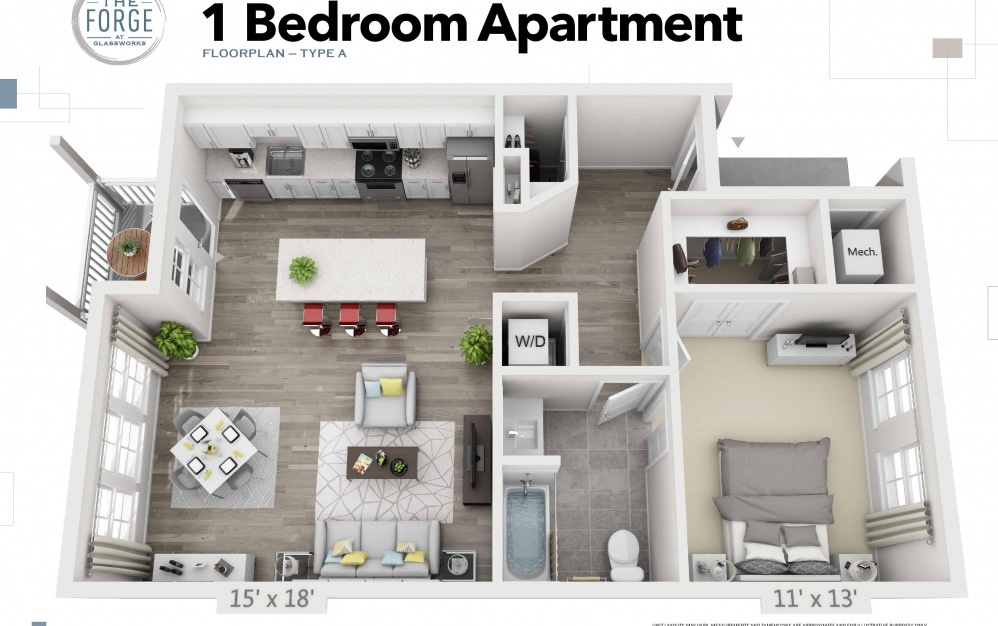 One Bedroom Type A - 1 bedroom floorplan layout with 1 bath and 796 to 818 square feet.
