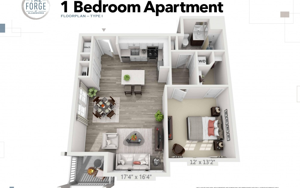 One Bedroom Type I - 1 bedroom floorplan layout with 1 bath and 800 to 810 square feet.