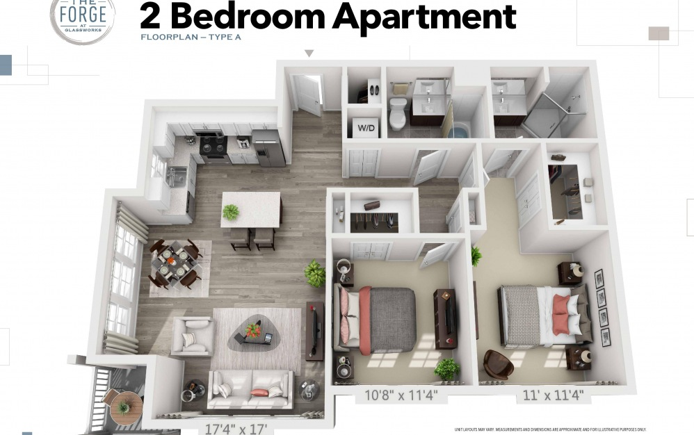 Two Bedroom Type A - 2 bedroom floorplan layout with 2 baths and 1033 to 1074 square feet.