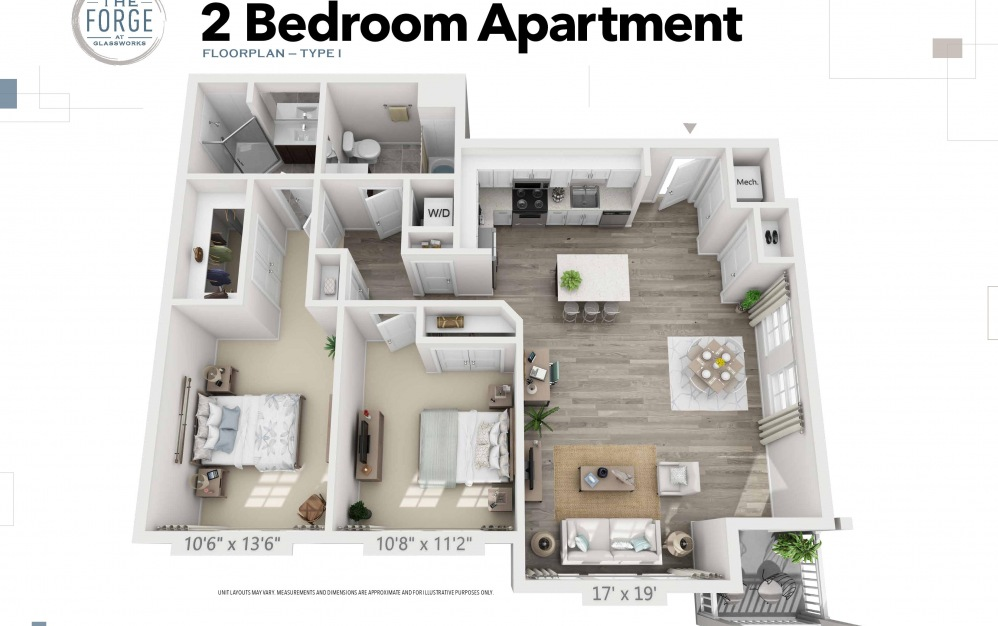 Two Bedroom Type I - 2 bedroom floorplan layout with 2 baths and 1057 to 1093 square feet.